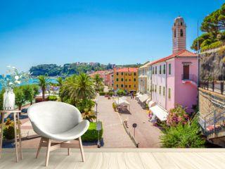 Beautiful street and traditional buildings of Savona, Liguria, Italy