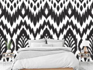 Tribal pattern. Seamless background. Scribble texture. Black and white graphic design. Creative vector illustration. Ethnic boho ornament. Impressive fashion print.