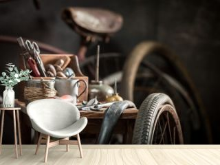 Retro bike fix service with wheels, tools, and rubber patch