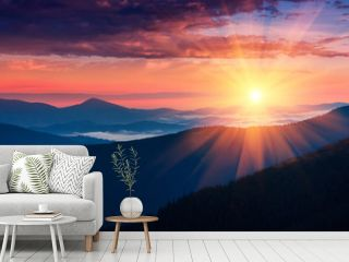 Panoramic view of colorful sunrise in mountains. Concept of the awakening wildlife, romance,emotional experience in your soul, joy in mundane life.