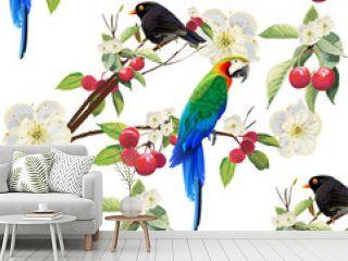 Tropical trendy seamless pattern with hornbill, black bird.