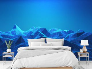 Wireframe of mountains in technology concept. Sci-Fi data futuristic background. 3d illustration.