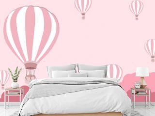 Balloon artwork for International balloon festival - Pink balloon on pink sky background - illustration