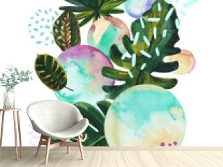 Watercolor tropical leaves on geometric background with water color, doodle textures.