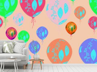 Seamless pattern of air balloons,  leaves, doodles.
