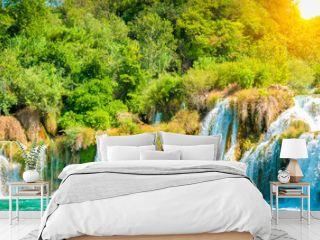 Waterfalls panorama landscape, Krka National Park, Croatia