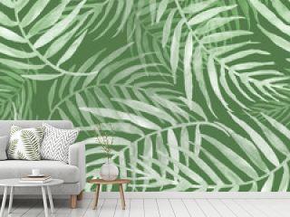 Seamless watercolor pattern, background. Palm leaf background, postcard. Green tropical palm leaf. Illustration for design wedding invitations, greeting cards, postcards.