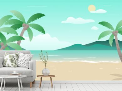 Summer landscape illustration in the flat style.