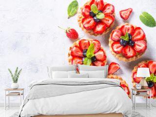 Strawberry tart on white. Summer dessert with berries