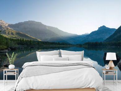 Derborence lake morning panorama