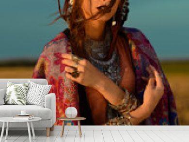 woman in boho style