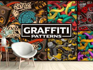 Set of seamless patterns with graffiti art