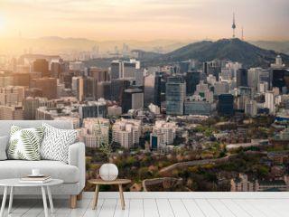 Sunrise scene of Seoul downtown city skyline