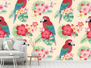 Watercolor illustrations of parrots, tropical flowers and leaves. Seamless tropical pattern