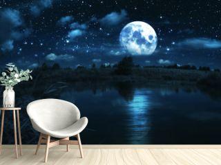 Full moon over river
