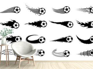 Vector flying football (soccer) balls