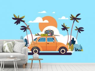 retro car with luggage on roof tropical sunset beach surfing vintage greeting card template poster flat vector illustration