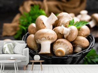 Mushrooms. Fresh mushrooms in basket