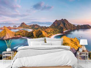 Top view of Padar Island before a morning from Komodo Island (Komodo National Park), Labuan Bajo, Flores, Indonesia