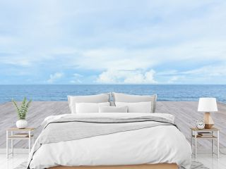 empty wood deck pier with sea ocean view background calm and tranquil