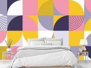 Geometric pattern design of Scandinavian abstract color background with Swiss geometry prints of vector rectangles, squares and circles pattern