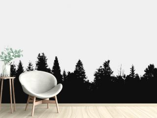 View to panorama of realistic forest silhouette.Vector nature design