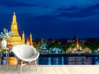 Wide panorama of Wat Arun temple, Bangkok, Thailand