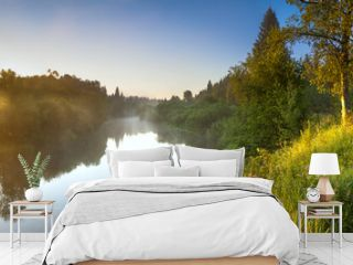summer landscape panorama with river and sunrise