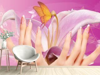 art flowers manicure woman nails