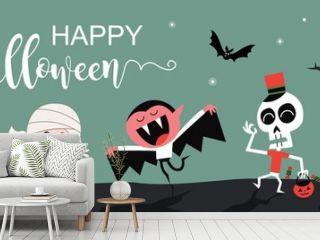 Happy Halloween greetings template vector. Vector illustration.