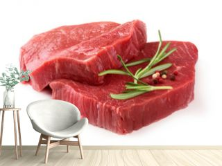 Raw meat with rosemary and pepper