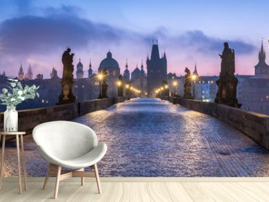 Panorama der Karlsbrücke in Prag, Tschechische Republik