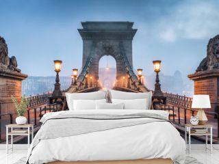 Kettenbrücke Panorama in Budapest, Ungarn
