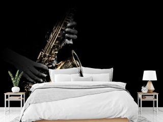 Saxophone player. Saxophonist playing jazz music instrument