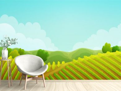 Rural landscape of vineyard. Green vines on hills with trees and mountains in background. Summer season. Vector illustration.