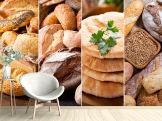 collage of various types of fresh bread