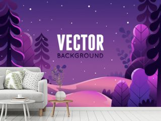 Vector illustration in trendy flat  style - background with copy space for text - winter landscape
