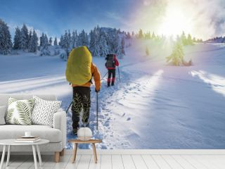 Winter hiking. Tourists are hiking in the snow-covered mountains.