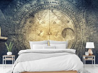 Ancient astronomical instruments on vintage paper background. Abstract old conceptual background on history, mysticism, astrology, science, etc.