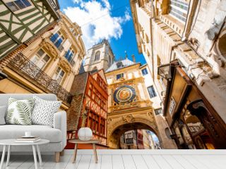 Street view with famous Great Clock astronomical clock in Rouen, the capital of Normandy region in France