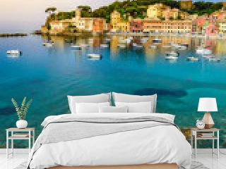 Sestri Levante - Paradise Bay of Silence with its boats and its lovely beach. Beautiful coast at Province of Genoa in Liguria, Italy, Europe.