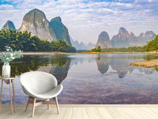Sunrise view of Li River by Xingping. China.