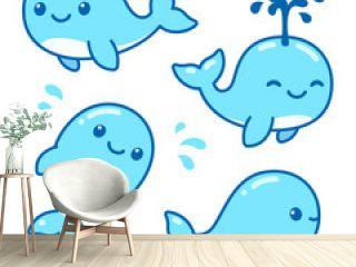 Cute cartoon whale set