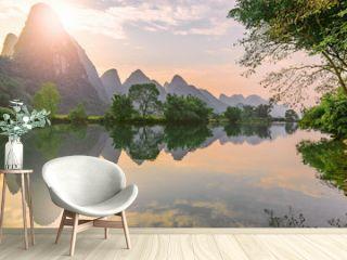 Sunset view of Li River. Yangshuo. Guangxi Province.