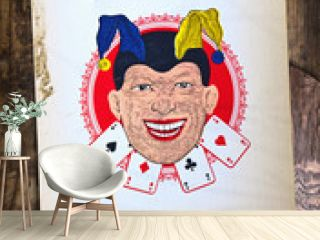 Old fashioned background with vintage Jolly Joker playing card