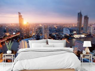 Cityscape Bangkok city Asia Thailand Skyline