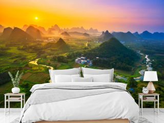 Landscape of Guilin, China. Li River and Karst mountains called Cuiping or