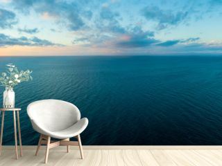 Wide aerial panorama of sunset over ocean - minimalistic seascape