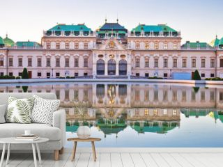 Belvedere in Vienna water reflection view at sunset