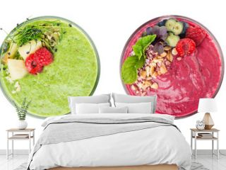 set of smoothies isolated on white top view